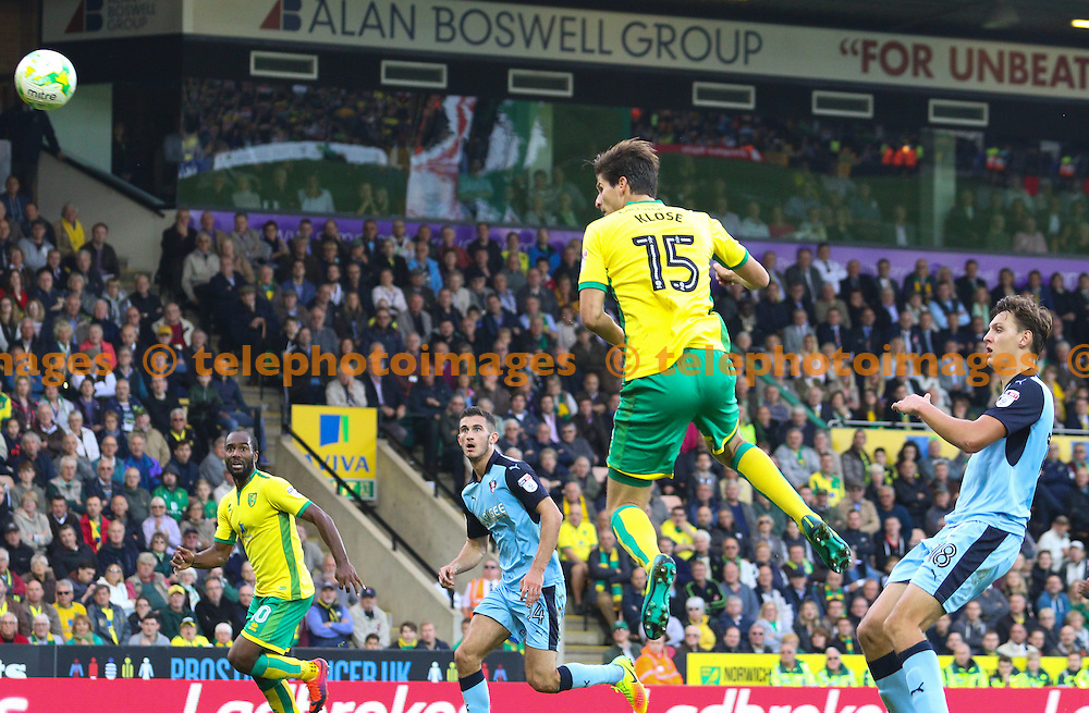 Timm Klose of Norwich City (15) goes close with a header during the Sky Bet Championship match between Norwich City and Rotherham United at Carrow Road in Norwich. October 15, 2016.<br /> Arron Gent / Telephoto Images<br /> +44 7967 642437