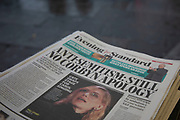 Headline on the Evening Standard Newspaper saying that Jeremy Corbyn has yet to apologise for anti-Semitism within the Labour party following his interview on the BBC the previous day in which he was given the opportunity to apologise, but failed to do so in London, England, United Kingdom. He has in the past apologised for his partys record on anti-Semitic behaviour, but not on this occasion, possibly due to the pressurised questioning he was receiving from Andrew Neil. Antisemitism is hostility to, prejudice, or discrimination against Jews. A person who holds such positions is called an antisemite.