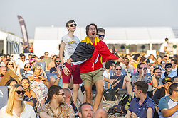 July 6, 2018 - Brighton, East Sussex, United Kingdom - Brighton, UK. Supporters watch the Belgium Vs Brazil World Cup 2018 match on the big screen on the Beach in Brighton and Hove. (Credit Image: © Hugo Michiels/London News Pictures via ZUMA Wire)