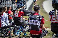 Team Canada during practice of Round 3 at the 2018 UCI BMX Superscross World Cup in Papendal, The Netherlands