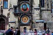 Mostly Czech citizens wearing face-masks infront of the Prague Astronomical Clock, or Prague Orloj which is a medieval astronomical clock located at Old-Town Square in Prague, the capital of the Czech Republic. The Czech government lowered the security measures and as of Monday 25 May 2020, wearing of protective masks will be mandatory only in the interiors of buildings other than the place of residence and in public transport.