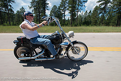 Bernie Steene on the Annual Cycle Source and Michael Lichter Rides (combined this year) left from the new Broken Spoke area of the Iron Horse Saloon during the Sturgis Black Hills Motorcycle Rally. SD, USA.  Wednesday, August 10, 2016.  Photography ©2016 Michael Lichter.