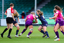 Roz Jermine of Worcester Warriors Women (on loan from Lichfield Ladies RFC) tackles Anya Richmond of Loughborough Lightning  - Mandatory by-line: Nick Browning/JMP - 14/11/2020 - RUGBY - Sixways Stadium - Worcester, England - Worcester Warriors Women v Loughborough Lightning - Allianz Premier 15s