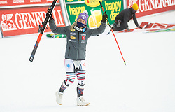 Second placed in overall classification of Golden Fox 2021 Michelle Gisin (SUI) celebrates at trophy ceremony during 2nd Run of Ladies' Giant Slalom at 57th Golden Fox event at Audi FIS Ski World Cup 2020/21, on January 17, 2021 in Podkoren, Kranjska Gora, Slovenia. Photo by Vid Ponikvar / Sportida
