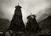 High Albania, the Accursed Mountains. Classic Albanian haystacks in Valbone