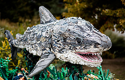Chompers the Shark built from marine rubbish washed ashore pictured outside of Shedd Aquarium, Chicago