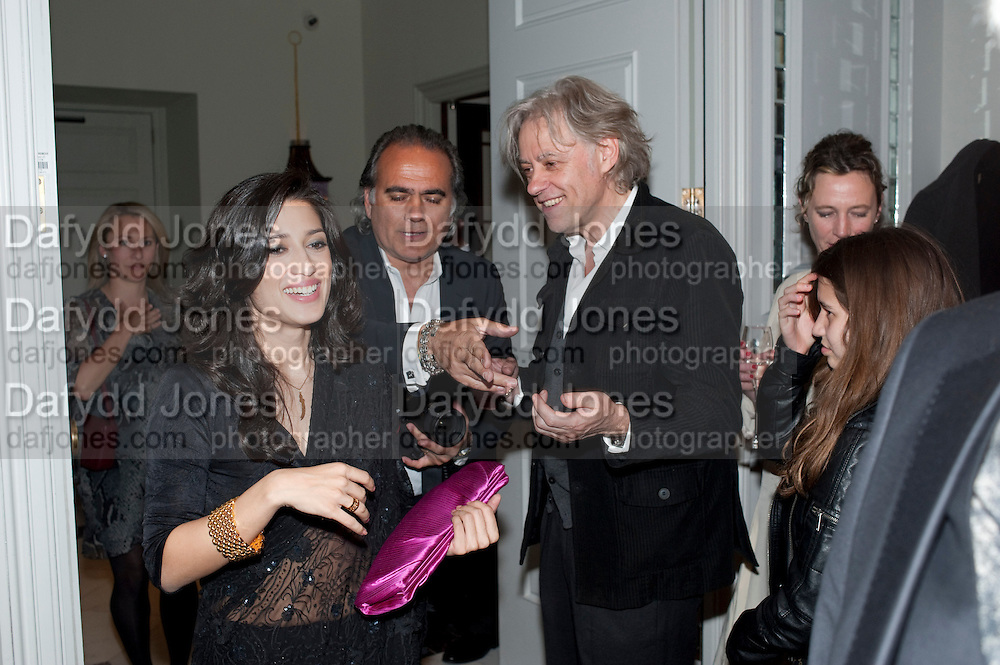 FATIMA BHUTTO; DAVE BENET; SIR BOB GELDOG, Henry Porter hosts a launch for Songs of Blood and Sword by Fatima Bhutto. The Artesian at the Langham London. Portland Place. 15 April 2010.  *** Local Caption *** -DO NOT ARCHIVE-© Copyright Photograph by Dafydd Jones. 248 Clapham Rd. London SW9 0PZ. Tel 0207 820 0771. www.dafjones.com.<br /> FATIMA BHUTTO; DAVE BENET; SIR BOB GELDOG, Henry Porter hosts a launch for Songs of Blood and Sword by Fatima Bhutto. The Artesian at the Langham London. Portland Place. 15 April 2010.
