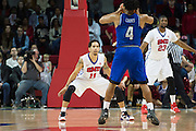 DALLAS, TX - DECEMBER 17: Nic Moore #11 of the SMU Mustangs defends against the Hampton Pirates on December 17, 2015 at Moody Coliseum in Dallas, Texas.  (Photo by Cooper Neill/Getty Images) *** Local Caption *** Nic Moore