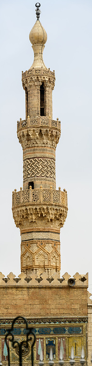 Intricate details on Minaret of Qaytbay on Al-Azhar Mosque in Cairo