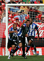 Photo: Lee Earle.<br /> Charlton Athletic v Sheffield Wednesday. Coca Cola Championship. 25/08/2007.Wednesday's Tommy Spurr (R) celebrates after scoring their second goal.
