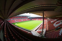 The view of the Anfield pitch from the Anfield Road Upper Stand, centre of Block 221.
