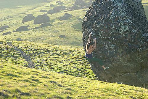 Mandi Finger bouldering at the Nut Tree Boulders. Vacaville, CA<br />