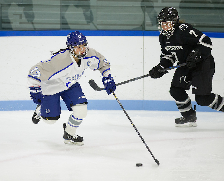 Carolyn Fuwa, of Colby College, in a NCAA Division III hockey game against Bowdoin College on November 21, 2014 in Waterville, ME. (Dustin Satloff/Colby College Athletics)