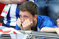 a Sheffield Wednesday fan dejected after full time as they lose the final. Skybet football league Championship play off final match, Hull city v Sheffield Wednesday at Wembley Stadium in London on Saturday 28th May 2016.<br /> pic by John Patrick Fletcher, Andrew Orchard sports photography.
