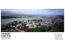 A panoramic view over Haitaitai, Kilbirnie, Lyall Bay and Evans Bay from the summit of Mount Victoria, Wellington.