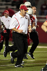 26 September 2009: Coach Brock Spack trots to the locker room at half-time.  South Dakota State Jackrabitts jump past the Illinois State Redbirds 38 - 17 at Hancock Stadium on campus of Illinois State University in Normal Illinois