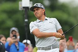 May 30, 2019 - Dublin, OH, U.S. - DUBLIN, OH - MAY 30: Rickie Fowler watches his shot from the tenth tee during the first round of The Memorial Tournament on May 30th 2019  at Muirfield Village Golf Club in Dublin, OH. (Photo by Ian Johnson/Icon Sportswire) (Credit Image: © Ian Johnson/Icon SMI via ZUMA Press)