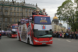 May 28, 2017 - Saint-Petersburg, Russia - Of The Russian Federation. Saint-Petersburg. Championship parade of the SKA hockey club on the Nevsky prospect. The awarding ceremony of the hockey gold medals of the championship of Russia on hockey. SKA champion. SKA celebrates the Championship. (Credit Image: © Russian Look via ZUMA Wire)
