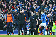 Ryan Jack (#8) of Rangers FC celebrates his goal with Rangers manager Steven Gerrard looking on during the Ladbrokes Scottish Premiership match between Rangers and Celtic at Ibrox, Glasgow, Scotland on 29 December 2018.