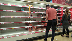 © Licensed to London News Pictures. 20/09/2021. London, UK. A shopper looks at nearly empty shelves of meat products in Sainsbury's in north London as fears of food shortages grow after two of the UK's biggest Carbon Dioxide (CO2) producers halted production last week due to soaring gas prices. Photo credit: Dinendra Haria/LNP