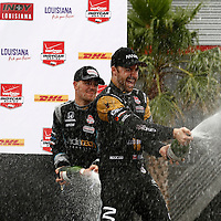 10-12 April, 2015, Avondale, Louisiana USA<br /> James Hinchcliffe and James Jakes celebrate on the podium with champagne <br /> ©2015, Phillip Abbott<br /> LAT Photo USA