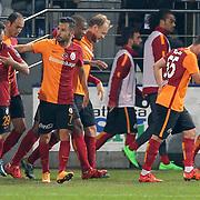 Galatasaray's Olcan Adin (L) and Yasin Oztekin (C) during their Turkish Super League soccer match Caykur Rizespor between Galatasaray at the Yeni Rize Sehir stadium in Rize Turkey on Saturday, 07 November 2015. Photo by TVPN/TURKPIX