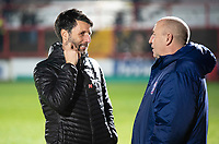 Lincoln City manager Danny Cowley, left, chats to Accrington Stanley manager John Coleman before kick off<br /> <br /> Photographer Andrew Vaughan/CameraSport<br /> <br /> The EFL Checkatrade Trophy Second Round - Accrington Stanley v Lincoln City - Crown Ground - Accrington<br />  <br /> World Copyright © 2018 CameraSport. All rights reserved. 43 Linden Ave. Countesthorpe. Leicester. England. LE8 5PG - Tel: +44 (0) 116 277 4147 - admin@camerasport.com - www.camerasport.com