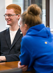 Pictured: Terry Reintke (blue hoodie); Ross Greer (glasses and ginger hair), Patricia Santana Ramirez (Striped shirt) and Alison Johnstone (blue jacket).  It is unclear if the single star on the back of Ms Reintke's hoodie represented the UK with the other European countries stars in a circle on the front of her hoodie.<br /> <br /> German politician Terry Reintke, MEP, joined Scottish Greens education spokesman Ross Greer and Greens MSP colleague Alison Johnstone today on a visit to West Lothian College to discuss the potential impact of Brexit on the Erasmus+ programme for students. All the polliticians met Patricia Santana Ramirez from Spain who is concerned over the uncertainty the Brexit negotiations will have on the Eurasmus + programme<br /> <br /> Ger Harley | EEm 22 March 2019