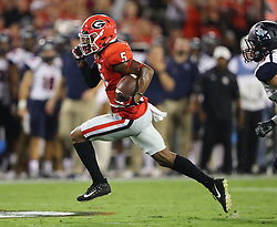 September 16, 2017 - Athens, GA, USA - Georgia wide receiver Terry Godwin runs to the end zone against Samford for a touchdown reception and a 21-0 lead during the second quarter on Saturday, Sept. 16, 2017, at Sanford Stadium in Athens, Ga. (Credit Image: © Curtis Compton/TNS via ZUMA Wire)