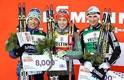 19.02.2016, Salpausselkae Stadion, Lahti, FIN, FIS Weltcup Nordische Kombination, Lahti, Langlauf, im Bild v.l.: Akito Watabe (JPN, 2. Platz), Sieger Eric Frenzel (GER), Jarl Magnus Riiber (NOR, 3. Platz) // f.l.: 2nd placed Akito Watabe of Japan, Winner Eric Frenzel of Germany, 3rd placed Jarl Magnus Riiber of Norway competes during Cross Country Gundersen Race of FIS Nordic Combined World Cup, Lahti Ski Games at the Salpausselkae Stadium in Lahti, Finland on 2016/02/19. EXPA Pictures © 2016, PhotoCredit: EXPA/ JFK