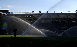 """The pitch is watered at half-time during the Premier League match at Goodison Park, Liverpool. PRESS ASSOCIATION Photo. Picture date: Saturday September 29, 2018. See PA story SOCCER Everton. Photo credit should read: Peter Byrne/PA Wire. RESTRICTIONS: EDITORIAL USE ONLY No use with unauthorised audio, video, data, fixture lists, club/league logos or """"live"""" services. Online in-match use limited to 120 images, no video emulation. No use in betting, games or single club/league/player publications."""