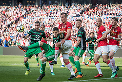 (L-R) Robin van Persie of Feyenoord, Kevin Diks of Feyenoord, Stijn Wuytens of AZ, Nicolai Jorgensen of Feyenoord, Tonny Vilhena of Feyenoord, Ron Vlaar of AZ, Wout Weghorst of AZ during the Dutch Toto KNVB Cup Final match between AZ Alkmaar and Feyenoord on April 22, 2018 at the Kuip stadium in Rotterdam, The Netherlands.