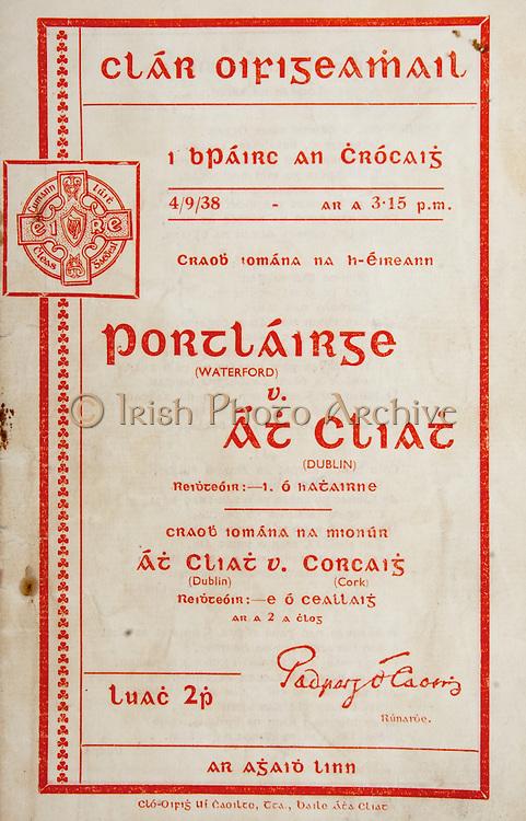 All Ireland Senior Hurling Championship Final,.Brochures,.04.09.1938, 09.04.1938, 4th September 1938, .Dublin 2-5, Waterford 1-6,.Minor Dublin v Cork,.Senior Dublin v Waterford,.Croke Park, .0491938AISHCF,