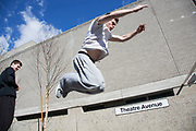 Parkour runner shows urban acrobatic skills. The South Bank is a significant arts and entertainment district, and home to an endless list of activities for Londoners, visitors and tourists alike.
