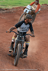 Wall of Death rider Rhett Rotten racing an old bike on the Sons of Speed banked oval track at the Full Throttle Saloon during the Sturgis Black Hills Motorcycle Rally. Sturgis, SD, USA. Tuesday, August 6, 2019. Photography ©2019 Michael Lichter.