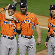 Houston Astros players Carlos Gomez, (left), Evan Gattis and Colby Rasmus, (right), joke with family members and supporters in the crowd before the New York Yankees Vs Houston Astros, Wildcard game at Yankee Stadium, The Bronx, New York. 6th October 2015 Photo Tim Clayton for The Players Tribune