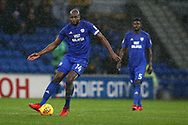 Sol Bamba of Cardiff city in action. EFL Skybet championship match, Cardiff city v Fulham at the Cardiff city stadium in Cardiff, South Wales on Boxing Day, Tuesday 26th December 2017.<br /> pic by Andrew Orchard, Andrew Orchard sports photography.