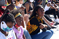 """Participants and supporters from #YouthSpeakUP march in solidarity with the """"Black Lives Matter"""" movement onSaturday, June 13 in Washington, D.C. The event began with a youth discussion at 10:00 am at Freedom Plaza and conclude with a peaceful protest walk to """"Black Lives Matter Plaza,"""" joining hundreds of marchers from all over the country demonstrating against racial injustice in the United States."""