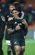 Malakai Fekitoa of the All Blacks  gets a hug from team mate Steven Luatua after the third rugby test between the All Blacks and England played at Waikato Stadium in Hamilton during the Steinlager Series - All Blacks v England, Hamiton, 21 June 2014<br /> www.photosport.co.nz