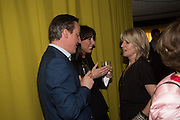 DAVID CAMERON; SAMANTHA CAMERON; RACHEL JOHNSON, Launch of ' More Human',  Designing a World Where People Come First' by Steve Hilton. Party held at Second Home in Princelet St, off Brick Lane, London. 19 May 2015.