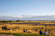 People enjoy a sunny afternoon at the former Tempelhoffer Feld airport, now serving as a park in Berlin, Germany, July 05, 2021.