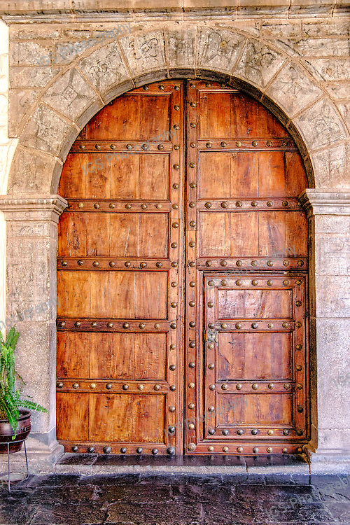 Heavy Wooden Entrance Door in the  Santo Domingo Monastery