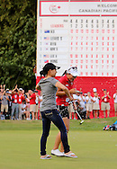 15 AUG 23  Korean teenage sensation Lydia Ko celebrates with a shower on the 18th green at the conclusion of The Canadian Pacific Women's Open at The Vancouver Golf Club in Coquitlam, British Columbia, Canada.(photo credit : kenneth e. dennis/kendennisphoto.com)