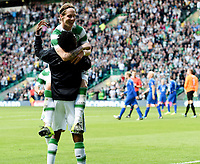 15/07/15 UEFA CHAMPIONS LEAGUE QUALIFIER<br /> CELTIC V STJARNAN<br /> CELTIC PARK - GLASGOW<br /> Celtic's Stefan Johansen (top) celebrates his goal with substitute Efe Ambrose.