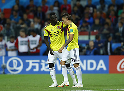July 3, 2018 - Moscow, Russia - Round of 16 England v Colombia - FIFA World Cup Russia 2018..Davinson Sanchez (Colombia) comforting Mateus Uribe (Colombia) after the missed penalty at Spartak Stadium in Moscow, Russia on July 3, 2018. (Credit Image: © Matteo Ciambelli/NurPhoto via ZUMA Press)