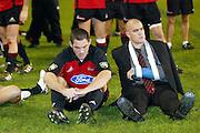 24 May 2003. Super 12 Final. Eden Park, Auckland, New Zealand. Blues vs Crusaders.<br />Mark Hammett and Corey Flynn.<br />The Blues won the match, 21 - 17.<br />Pic: Sandra Teddy/Photosport