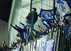Supporters of Schalke during football match between NK Maribor, SLO  and FC Schalke 04, GER in Group G of Group Stage of UEFA Champions League 2014/15, on December 9, 2014 in Stadium Ljudski vrt, Maribor, Slovenia. Photo by Vid Ponikvar / Sportida