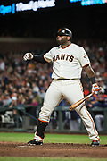 San Francisco Giants third baseman Pablo Sandoval (48) reacts to striking out against the Milwaukee Brewers at AT&T Park in San Francisco, California, on August 21, 2017. (Stan Olszewski/Special to S.F. Examiner)