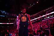 Golden State Warriors forward Kevin Durant takes the court to play the Houston Rockets in game four of the NBA Western Conference Semifinals at the Toyota Center in Houston, Texas, U.S., May 6, 2019.