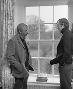 "9th May 1975<br /> <br /> J.P Donleavy being interviewed for ""Men Only"" magazine at his home, Levington Park, Mullingar, County Westmeath."